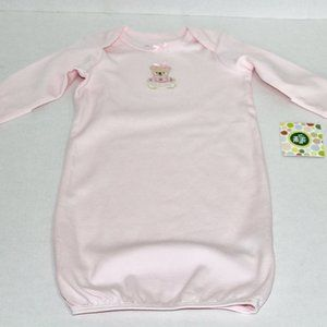 NWT Little Me Pink Bear Long Sleeve Nightgown